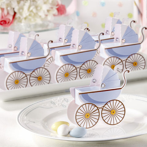 Baby blue pram favours