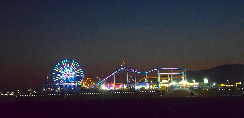 LA Santa Monica Pier by night